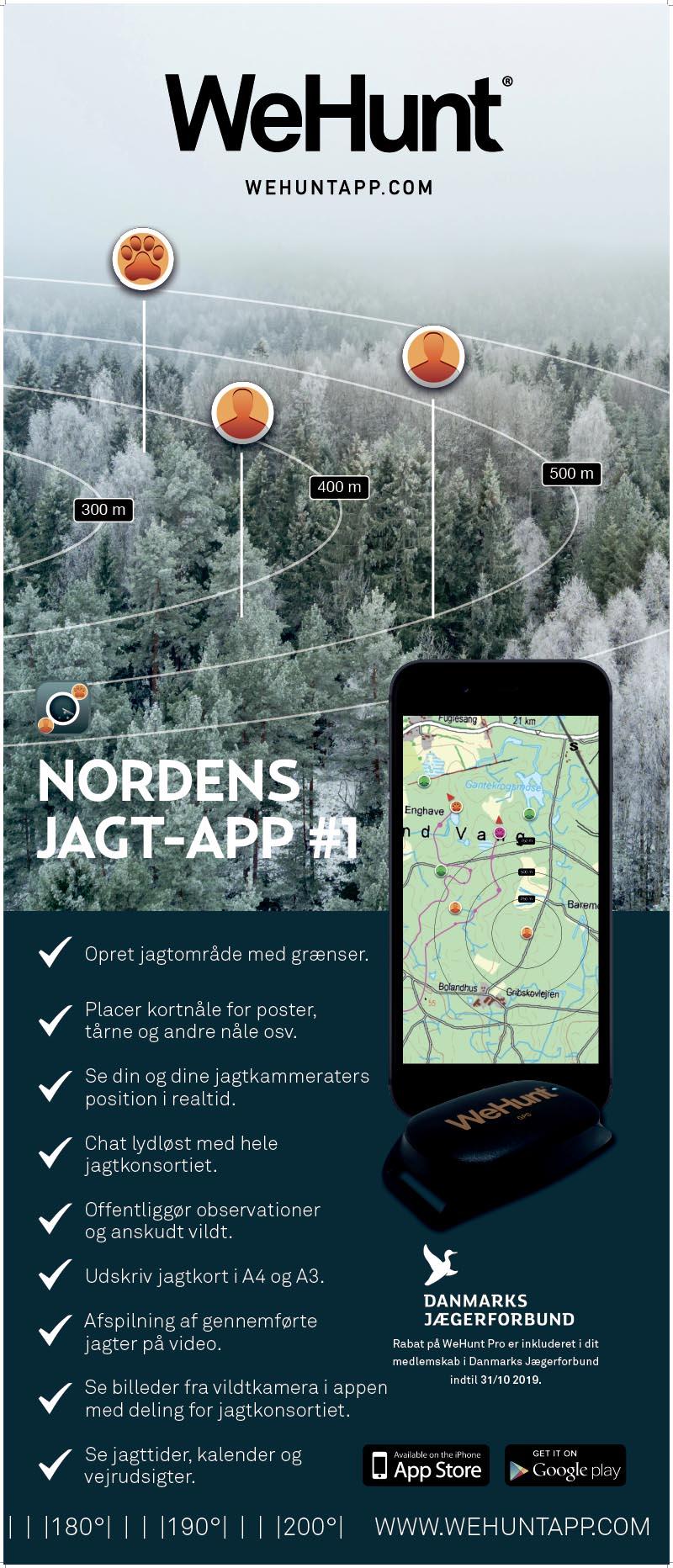WeHunt Smartphone app til iPhone og Android til GPS sporing og tracking af jagthund